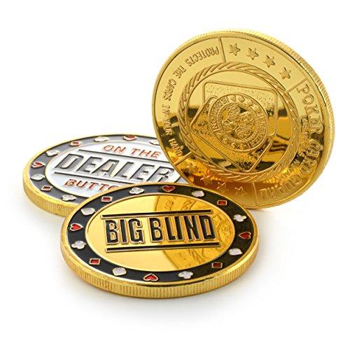 Ganzoo Hochwertiges Poker Button Set im Etui (Metallmünzen), 1x dealer button, 1x small blind, 1x big blind, Marke