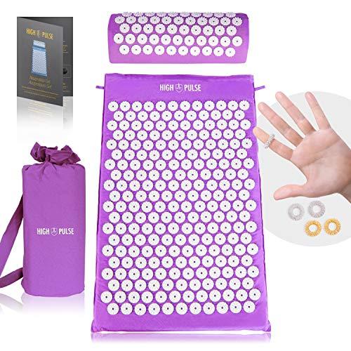 High Pulse Akupressur Set + 5 Ringe + Poster – Akupressurmatte & Kissen stimuliert die Blutzirkulation und löst Verspannungen (Violett)
