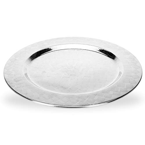 DRULINE Dekoteller aus Aluminium Ø 35 cm Silber (1 Stück)