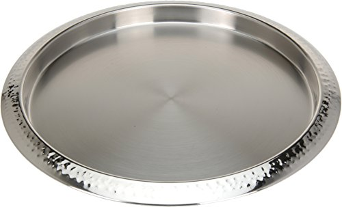 DRULINE 1 x Dekotablett Serviertablett Aluminum 3 cm Ø 35 cm gehämmert
