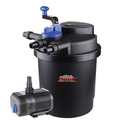 Mauk Teichdruckfilter Komplettset | 11 W UVC Klärer mit Spin Clean | inkl. Pumpe & Bachlauf Funktion | 6000 Liter