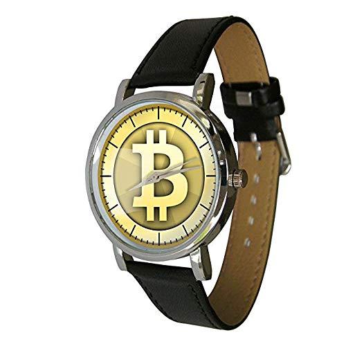 Your Watch Design Unisex Uhr. Erwachsenengröße. Analog Quarz mit Leder Armband, Bitcoin