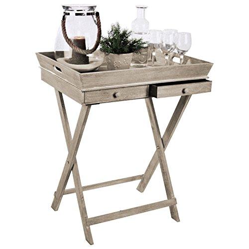 Wohaga Serviertisch \'Breakfast\' Tablett-Tisch mit 2 Schubladen und Gestell Serviertisch Beistelltisch Serviertablett abnehmbar Landhaus Stil