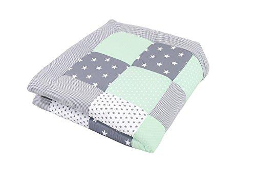 ULLENBOOM ® Baby Krabbeldecke Mint Grau (120x120 cm Baby Kuscheldecke, ideal als Laufgittereinlage, Spieldecke, Motiv: Punkte, Sterne)