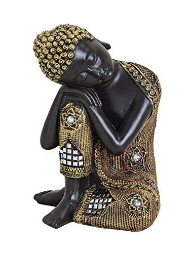 Schwarz-goldfarbene Buddha-Figur 17cm als Deko-Artikel für Haus & Garten   wetterfeste meditierende Buddha-Statue   moderne Deko-Skulptur als Wohn-Accessoire   ideal als Geschenk-Idee für Asien-Fans