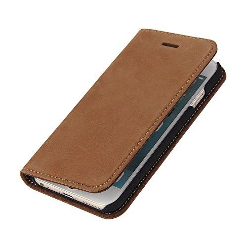 Wormcase Echt Ledertasche - für Apple iPhone 6 und iPhone 6S - Handytasche mit Kartenfach – Magnetverschluss - Braun – Leder Hülle kompatibel mit iPhone 6/6S