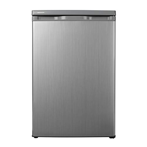 MEDION Kühlschrank (130 Liter, 85cm Höhe, Glasablagen, Gemüseschublade, Freistehend, 91 kWh/Jahr, MD 13854) silber