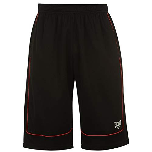 Everlast Herren Basketball Shorts Locker Kurze Hose Sporthose Sport Bekleidung Black/Red XX Large