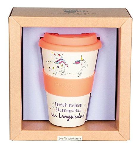 Grafik Werkstatt | Bambusbecher mit Deckel | Kaffee-Becher | Coffee-to-Go | 400 ml | Bamboo-to-go | Sternenstaub