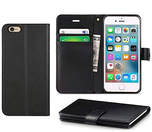 DN-Technology iPhone 7 Hülle, iPhone 8 Hülle, iPhone SE 2020 Hülle, iPhone 7/8/SE 2020 Hülle, [PU Leder Flip Case] [Book Wallet Case] [Kartenfächer] [Stoßfeste Hülle] (iPhone 7/8/SE 2020, schwarz)