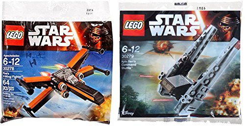 LEGO Star Wars Kylo Ren\'s Command Shuttle & Poe\'s X- Wing Fighter Starship Set - Polybag 30279 + 30278 Edition Building Set