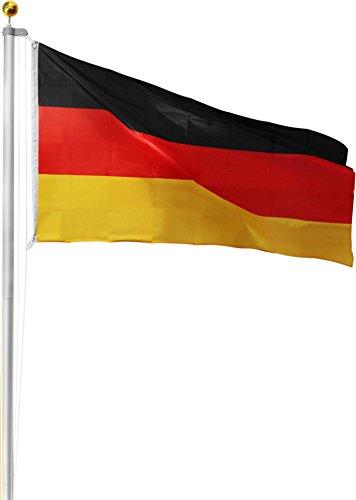 Aluminium Fahnenmast inkl. Deutschland Fahne + Bodenhülse + Zugseil - in verschiedenen Höhen wählbar Farbe Germany Größe 7.50 Meter