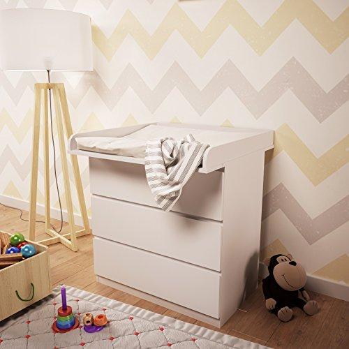 Polini Kids Wickelaufsatz für Kommode MALM IKEA in verschiedenen Farben (Weiß)