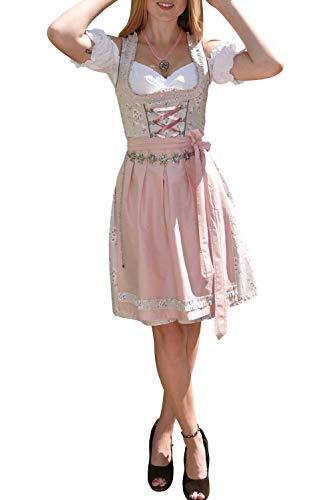 Golden Trachten-Kleid Dirndl Damen 3 TLG, Midi für Oktoberfest, mit Schürze und Bluse, 502GT (38),Grau