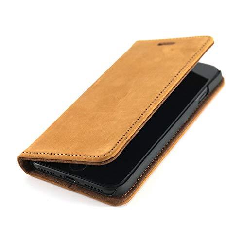 Wormcase Echt Ledertasche - für Apple iPhone 8 und iPhone 7 - Handytasche mit Kartenfach – Magnetverschluss - Braun – Leder Hülle kompatibel mit iPhone 7/8