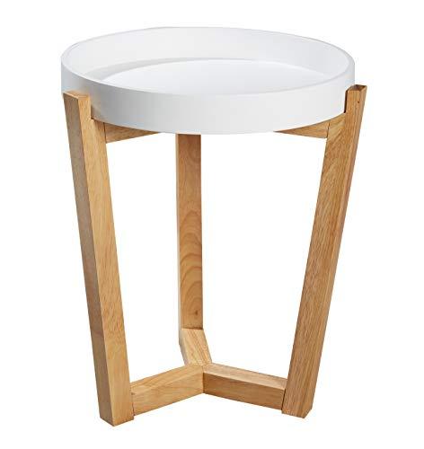 Wholesaler GmbH Beistelltisch mit abnehmbarem Tablett 40 cm rund Couchtisch Tabletttisch Holz weiß