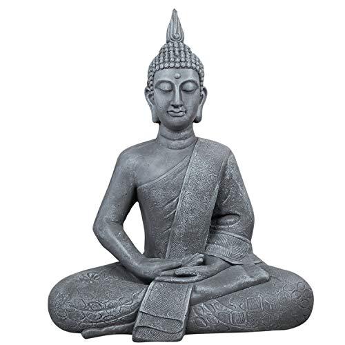 dszapaci Buddha Figur Groß 65cm Figur für Garten XXL Statue Deko Wohnzimmer Buda Skulptur Sitzend Buddastatue