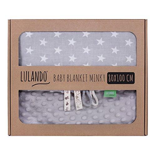 LULANDO Babydecke Kuscheldecke Krabbeldecke aus 100{290c2191d7a601d231b80a285f9084d1b2ce1841dd31d9325e84f9261c5817d2} Baumwolle (80x100 cm). Super weich und flauschig. Kuschelige Lieblingsdecke für Ihr Baby. Farbe: Grey - White Stars / Grey