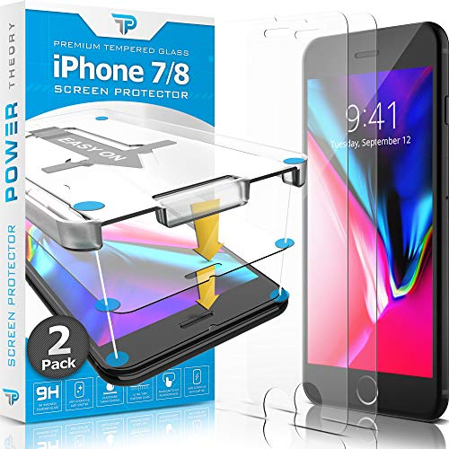 Power Theory Panzerglas für iPhone 8/iPhone 7 [2 Stück] - Schutzfolie mit Schablone, Panzerglasfolie, Panzerfolie, Glas Folie, Displayschutzfolie, Schutzglas