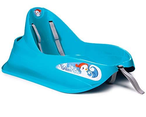 Ondis24 Schlitten Bob für Kleinkinder blau Rodel mit Sicherheitsgurt Rutscher mit Zuggurt und Staufach, für Kinder bis 3 Jahre