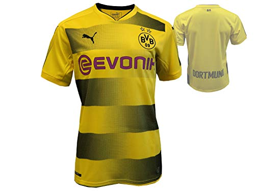 Puma Erwachsene BVB Home Replica with Sponsor Logo Shirt, Cyber Yellow Black, L