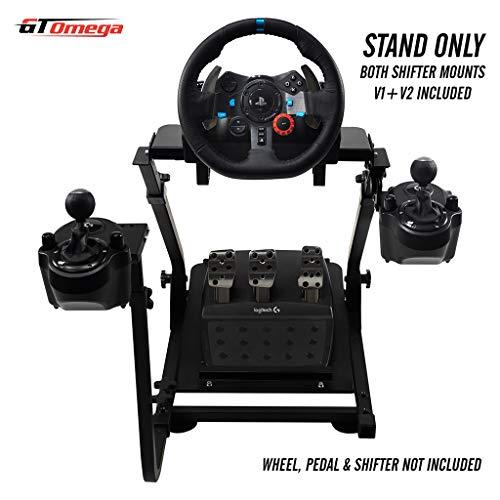 GT Omega Lenkradständer PRO für Logitech G29 G920 mit Schalt anbringen V1 und V2, Thrustmaster T500 T300 TX und TH8A - PS4 Xbox Fanatec - Neigungsverstellbares Design für ultimatives Sim Racing
