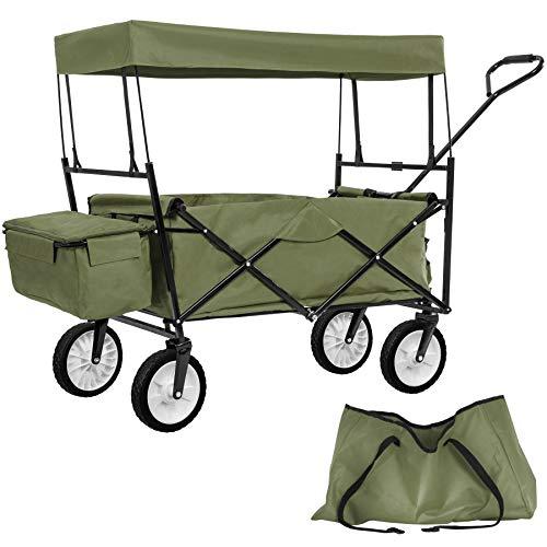 TecTake Faltbarer Bollerwagen mit Dach und extra Tragetasche - Diverse Farben - (Grün   Nr. 402317)
