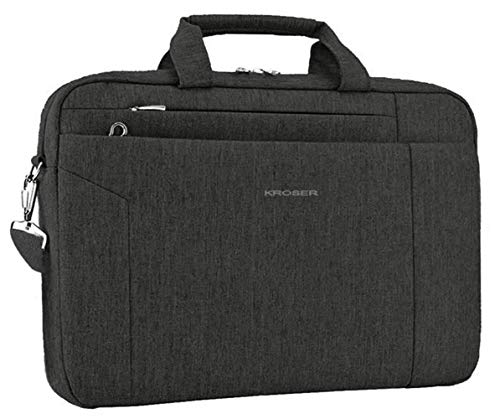 KROSER Laptop Tasche 15.6 Zoll Notebooktasche Aktentasche Tablet Tasche Schulter Umhängetasche Wasserabweisend Satchel Bussiness Laptoptasche für Frauen und Männer (Schwarz)