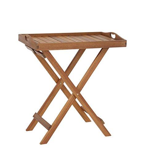 greemotion Stehtablett Borkum akazie, Beistelltisch mit abnehmbarem Tablett, Gartentisch aus hochwertigem FSC® Akazienholz, platzsparend klappbar, Maße: ca. 50 x 37 x 70 cm