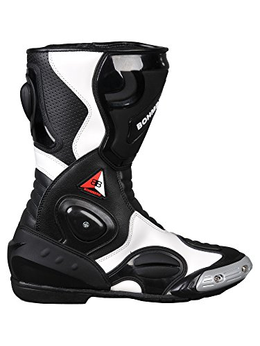 Bohmberg® Motorradstiefel, Sportstiefel aus Leder, Wasserabweisend aus stabilem Leder mit aufgesetzten Hartschalenprotektoren (44, Schwarz/Weiß)