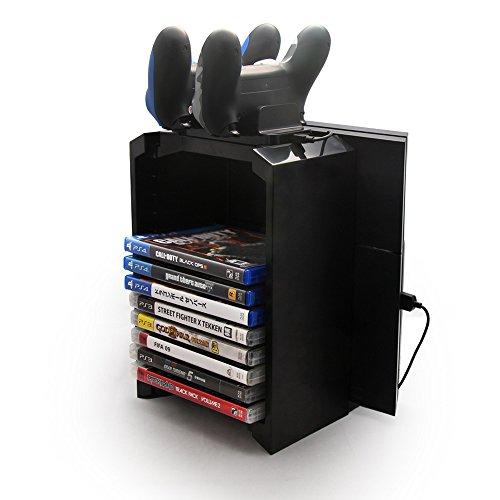 TR Turn Raise Games Tower, Vertikaler Standfuß Spiele-Speicherturm für Playstation 4, Dualshock Controller Ladegerät für PS4, PS4 Pro, Slim und Xbox One
