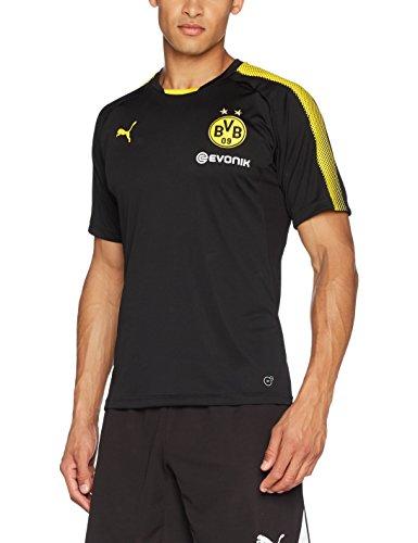 PUMA Herren BVB Training Jersey with Sponsor Logo T-Shirt Black-Cyber Yellow, L