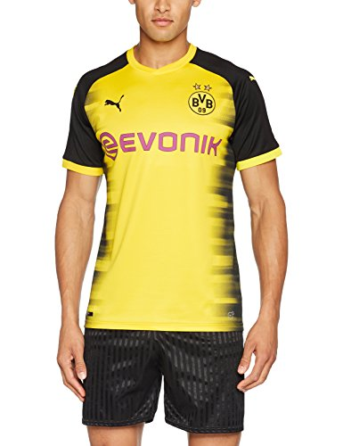 PUMA Herren T-Shirt BVB Int\'l Replica Shirt with Sponsor Logo, Cyber Yellow-puma Black, S, 751675 11