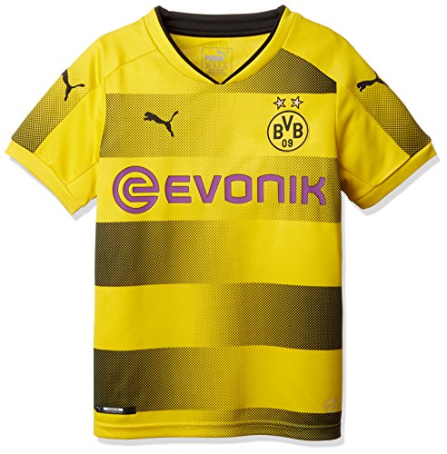 PUMA Kinder BVB Kids Home Replica Shirt with Sponsor Logo Fußball T, Cyber Yellow Black, 140