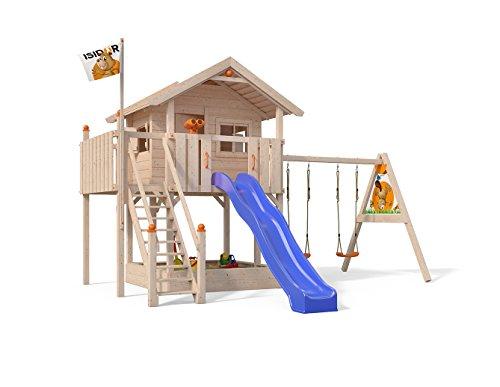 XL-Baumhaus COLINO von Oskar Spielturm mit Schaukelanbau und Sicherheitstreppe, XXL- Rutsche, Sandkasten und Balkon auf 1,50 Meter Podesthöhe
