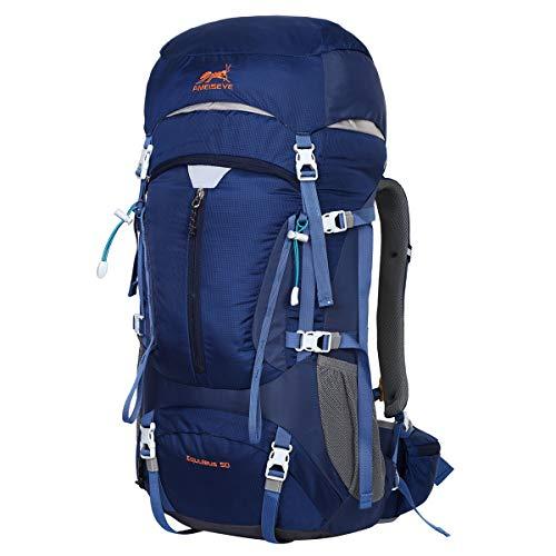 Eshow Trekkingrucksäcke Wanderrucksäcke Reiserucksack für Reisen Wandern und Bergsteigen Wasserdicht Ultraleicht 50L 31*60*23 mit Regenabdeckung (Blau)