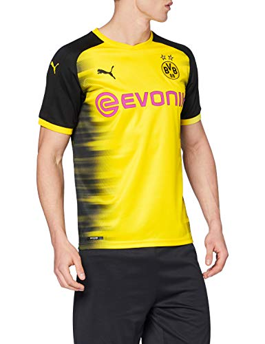 Puma Herren BVB Int'l Replica Shirt with Sponsor Logo T-Shirt, Cyber Yellow Black, L