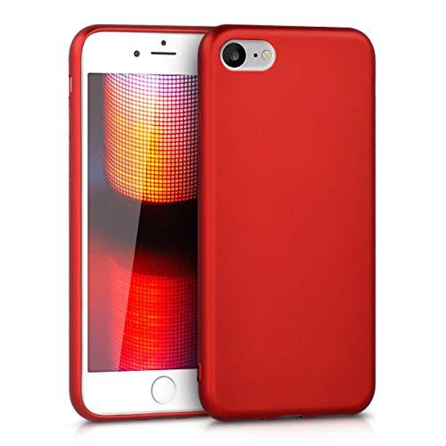 kwmobile Case kompatibel mit Apple iPhone 7/8 / SE (2020) - Hülle Silikon metallisch schimmernd - Handyhülle Metallic Dunkelrot