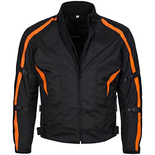 Limitless Herren Motorradjacke mit Protektoren und Reflektoren - Textil Motorrad Jacke aus Cordura - wasserdicht Winddicht Schwarz Orange 784 Gr. M