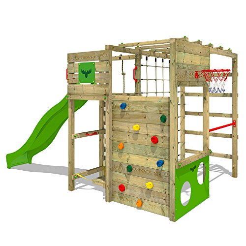 FATMOOSE Klettergerüst FitFrame Fresh XXL Kletterturm Spielturm für den Garten mit Wackelbrett, verschiedenen Kletterleitern, Kletternetz und apfelgrüner Rutsche