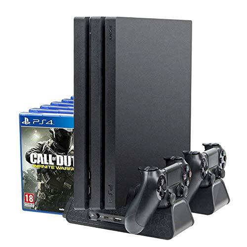 ElecGear PlayStation Vertikaler Ständer Ladestation, Lüfter Kühler Standfuß, 12x Blu-ray Spiele Hüllen Halterung Stand mit Dual Charger Ladegerät für DualShock 4 Controller und PS4, PS4 Slim, PS4 Pro