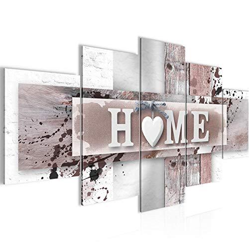 Bilder Home Herz Wandbild 200 x 100 cm Vlies - Leinwand Bild XXL Format Wandbilder Wohnzimmer Wohnung Deko Kunstdrucke Braun 5 Teilig - Made IN Germany - Fertig zum Aufhängen 504551b