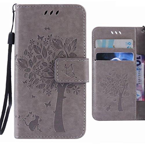 Ougger Handyhülle für HTC One M9/HTC One Hima Hülle Tasche, Glückliches Blatt BriefHülle Tasche Schale Schutzhülle Leder Weich Magnetisch Stehen Silikon Cover mit Kartenslot (Grau)