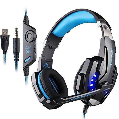 PUNICOK G9000 PS4 Gaming Headset Kopfhörer mit Mikrofon 3.5mm On Ear Surround Sound Ohrhörer und Lautstärkeregelung für PS4 Xbox One PC Laptop Tablet Mobile Phones Blau ...