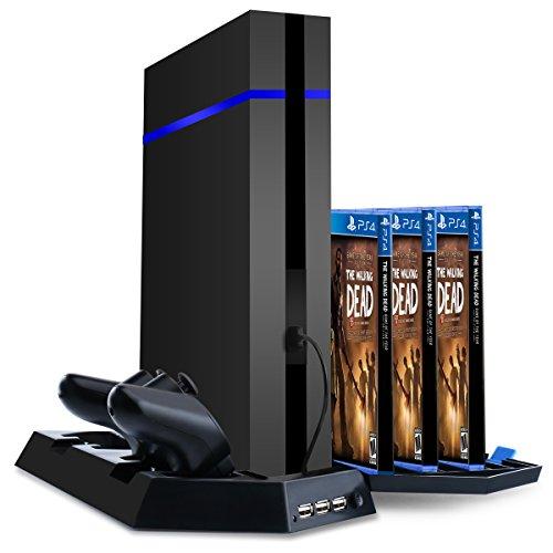 Samoleus PS4 / PS4 Slim / PS4 Pro Standfuß Vertikalständer, PS4 / PS4 Slim / PS4 Pro Kühler mit Ladestation and 3 USB Hubs für PS4 DualShock 4 Controller (PS4 / PS4 Slim / PS4 Pro-Kühler)