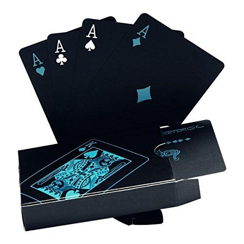 Poker-Karten, wasserdicht.Schwarzes Design, Professionelle Poker-Karten aus Kunststoff in Aluminiumgehäuse.Top-Qualität., Schwarz