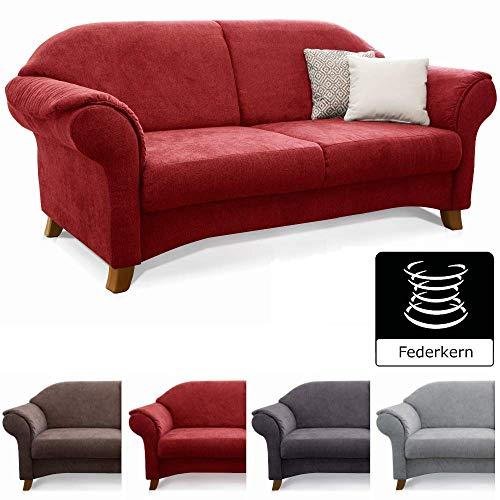 Cavadore 3-Sitzer Sofa Maifayr mit Federkern / Kleine Couch im Landhausstil mit Holzfüßen / 194 x 90 x 90 / Rot