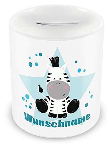 plot4u Kinder Spardose mit Namen und Zebra als Motiv für Kinder - Jungen und Mädchen Sparschwein weiß H:95mm/D:82mm