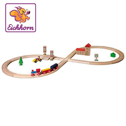 """Eichhorn 100001262 - Schienenbahn \""""Achterbahn\"""", 35-tlg., enthält Kurven, Schilder, Kreuzung, Bäume, Zug 4-tlg., Steckenlänge: 290cm, FSC 100{3ced6c152a13914de6cb5251abda154e62d5de04914420cc0b8f247fac3723a6} Zertifiziertes Buchenholz"""