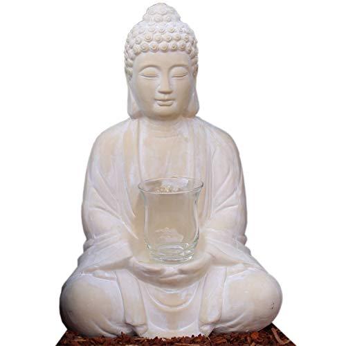 dszapaci Betender Buddha-Figur sitzend 40 cm groß mit Windlicht meditierende Budda Statue als Wohnzimmer Deko (40cm mit Windlicht)
